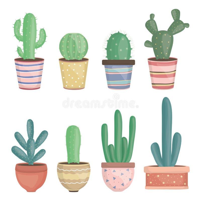 Set of exotic cactus plants in ceramic pots vector illustration