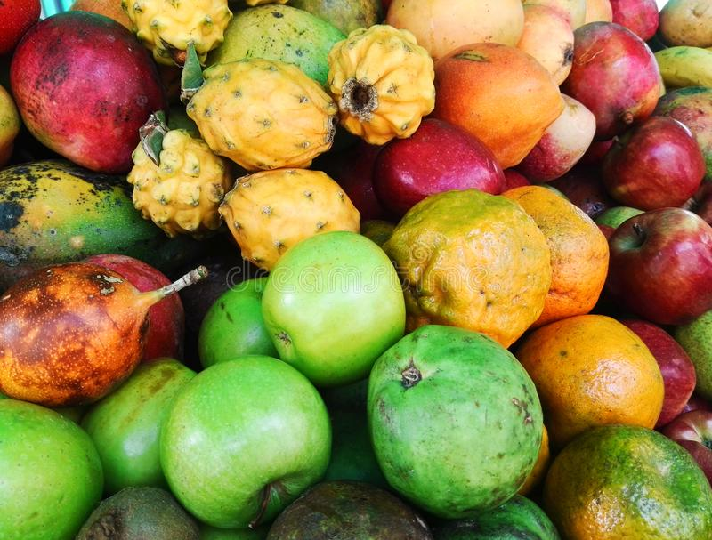 Set of exotic and colorful tropical fruits: including apple, orange, mango stock photography