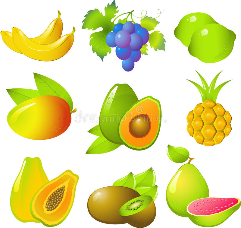 Set of exotic fruits royalty free stock photography