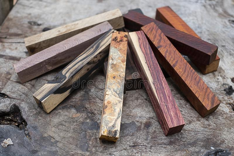 Set Exotic wood real for blanks. Pen royalty free stock photos
