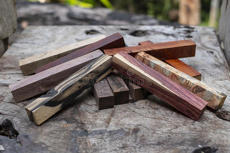 Set Exotic wood real for blanks. Pen royalty free stock image
