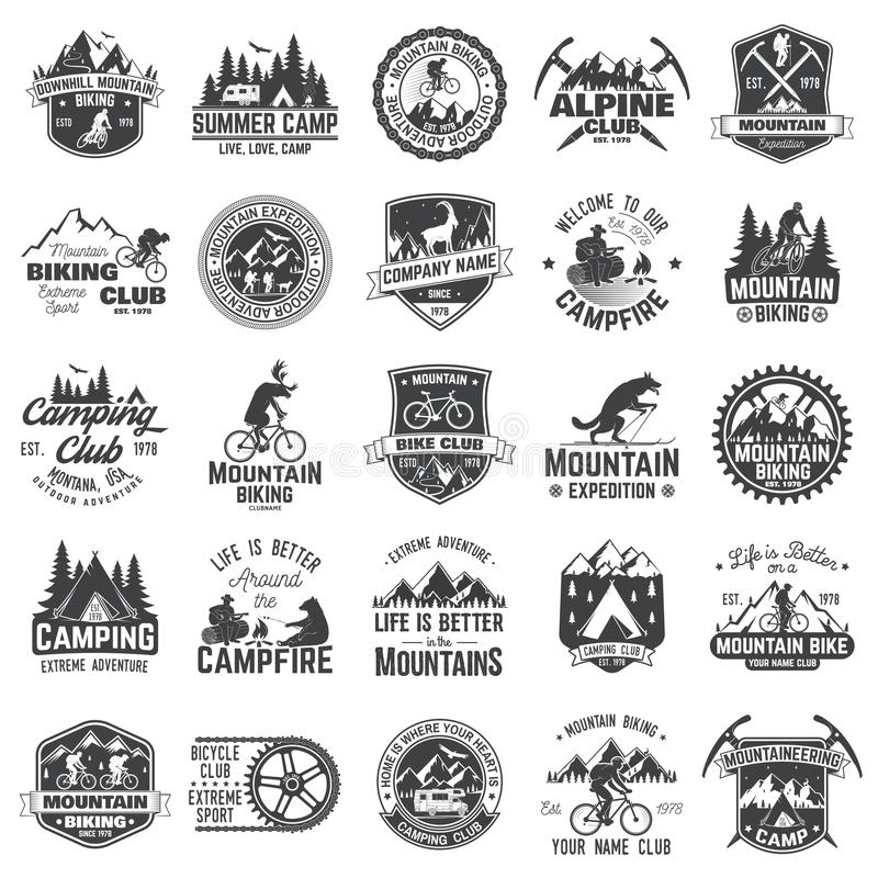 Set of extreme adventure badges. Concept for shirt or logo, print, stamp or tee. stock illustration