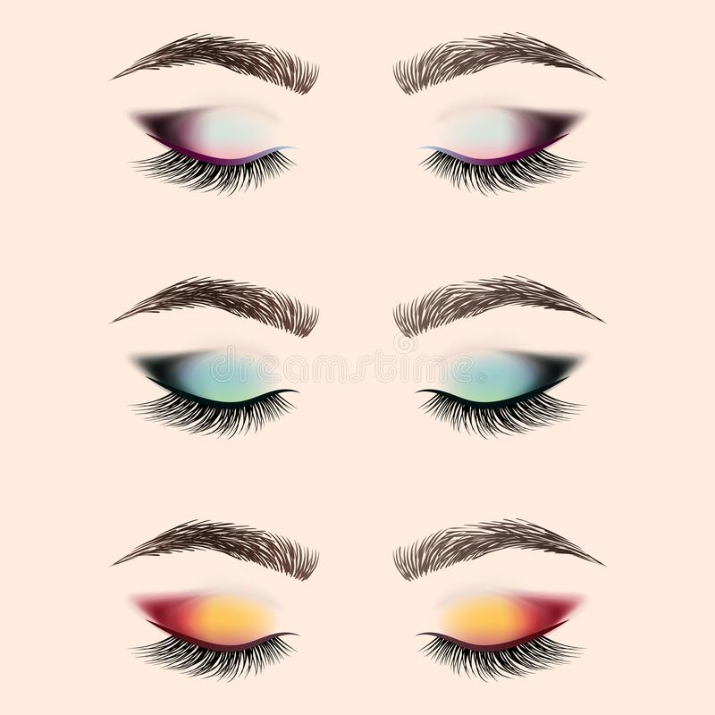 Set of eye makeup. Closed eye with long eyelashes and eyebrows. vector illustration