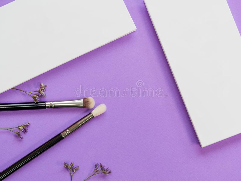 Set for eye makeup, eyeshadow in a palette and brush for a good application royalty free stock photography