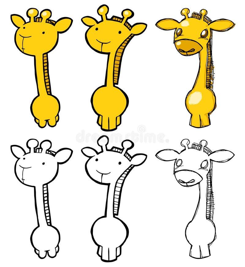 set för 01 giraff stock illustrationer