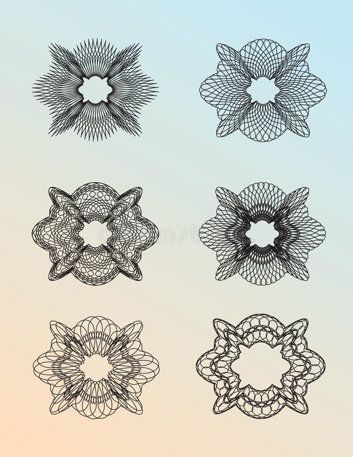 set för 01 guilloche royaltyfri illustrationer