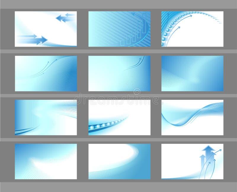 set för 12 affärskort stock illustrationer