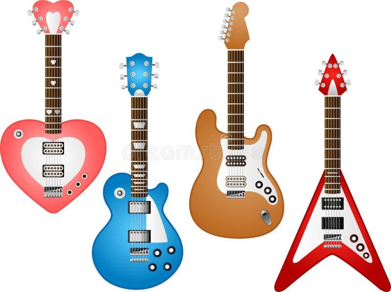 set för 3 gitarr vektor illustrationer
