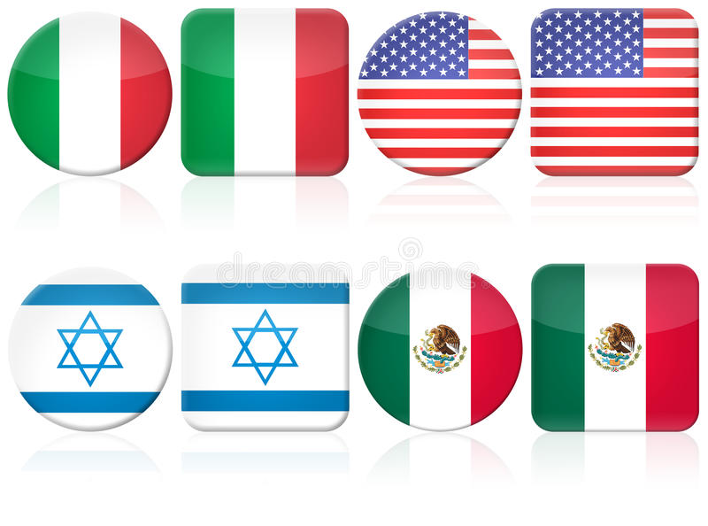 set för 8 flagga vektor illustrationer