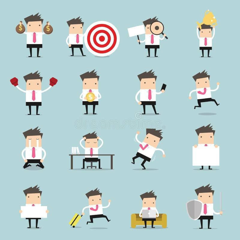 set för affärsfolk Affärsmannen är i olika lägen stock illustrationer