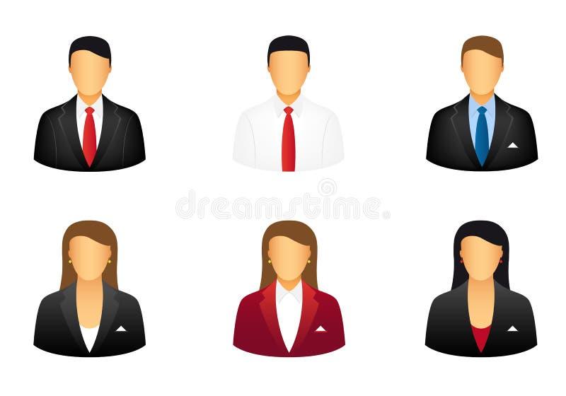 set för affärssymbolsfolk stock illustrationer