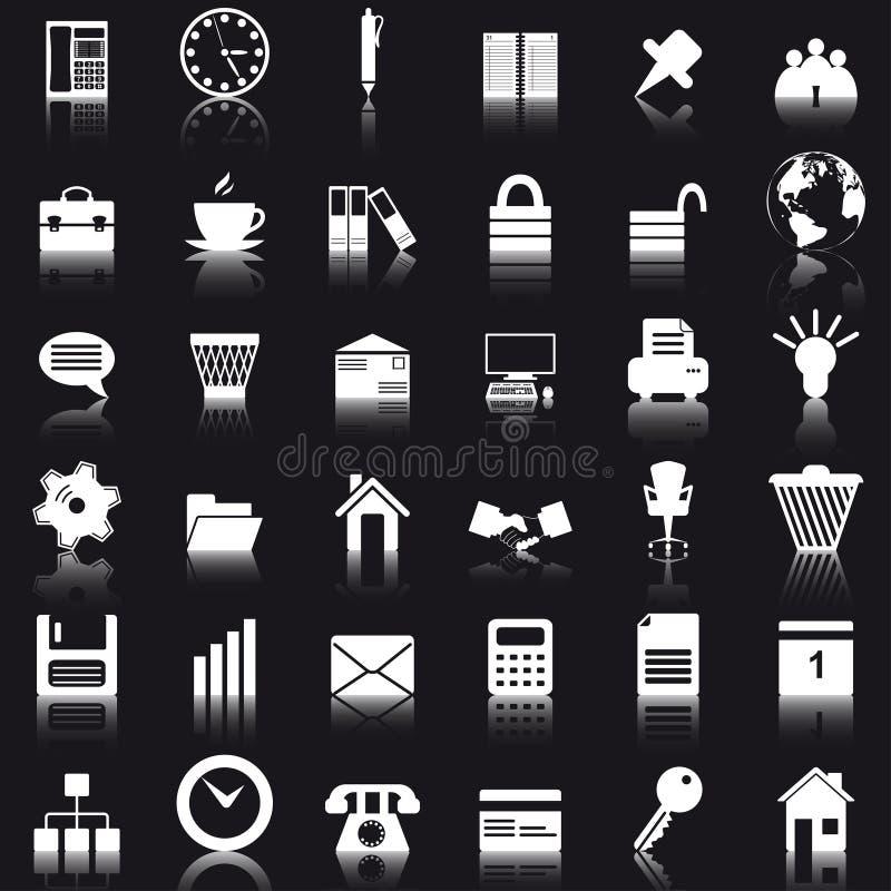 set för affärssymbolskontor royaltyfri illustrationer