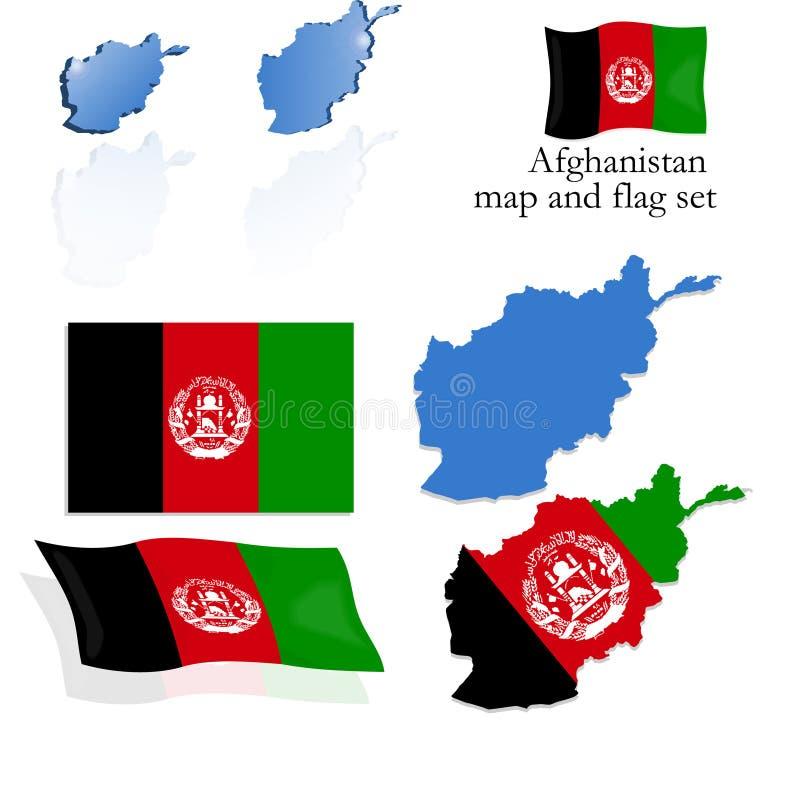 set för afghanistan flaggaöversikt royaltyfri illustrationer