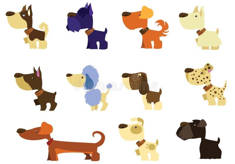 set för aveltecknad filmhund royaltyfri illustrationer