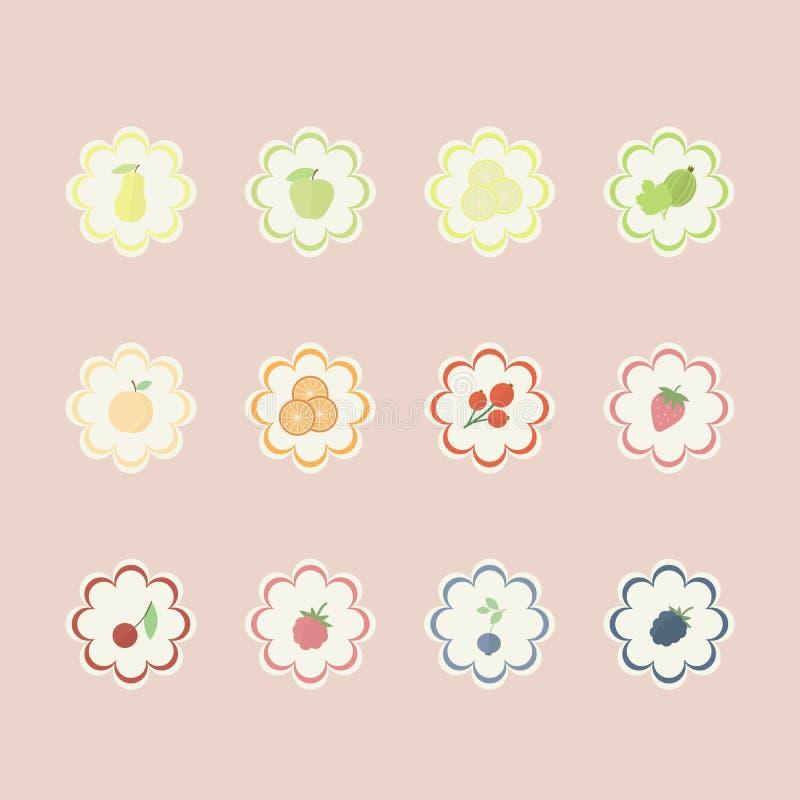 set för bärfruktetiketter stock illustrationer