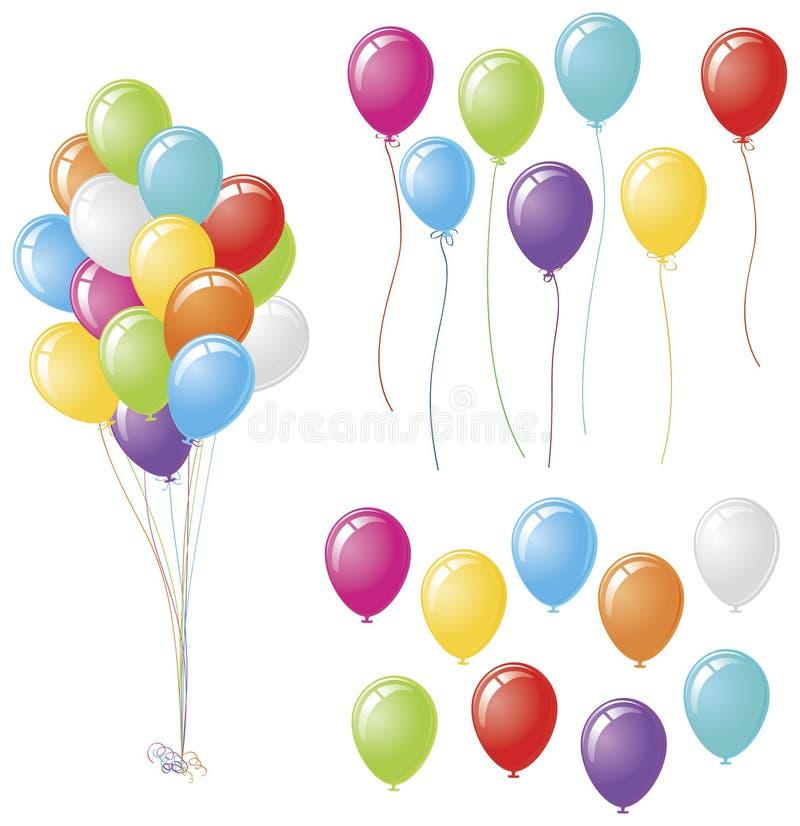 set för ballongpackedesign vektor illustrationer