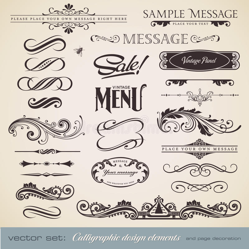 set för calligraphy 3 vektor illustrationer