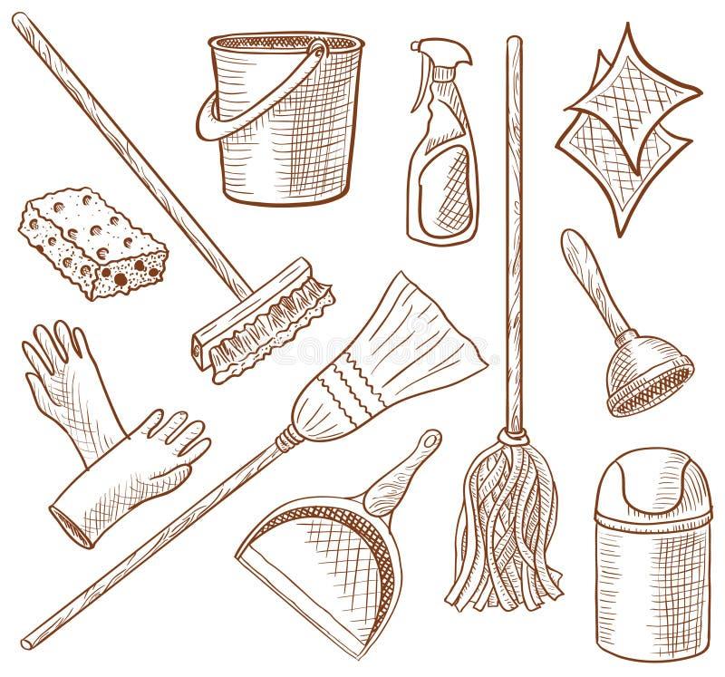 set för cleaningsymbolsservice stock illustrationer