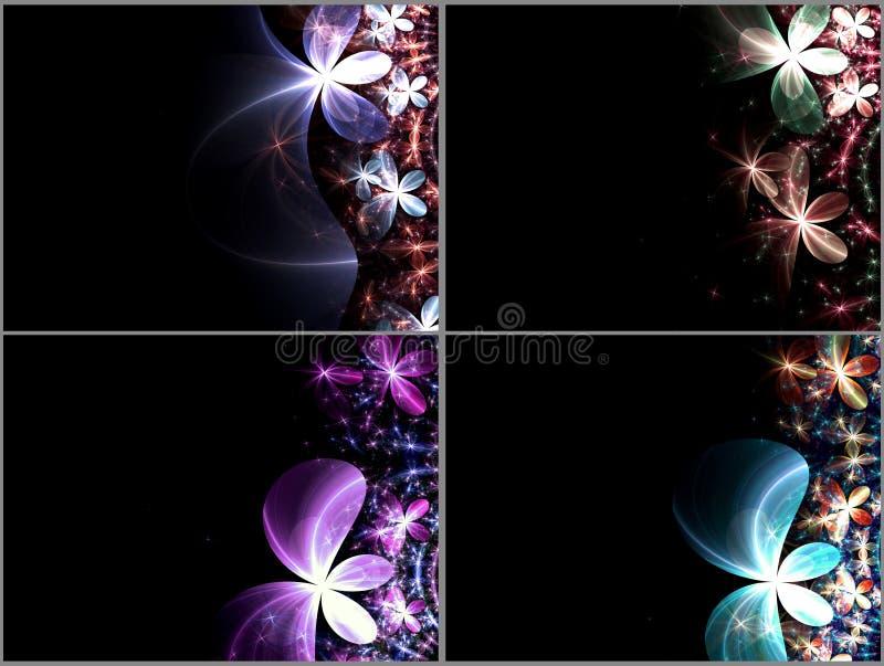 set för darkblommafractal stock illustrationer