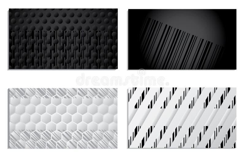 set för design för barcodeaffärskort stock illustrationer