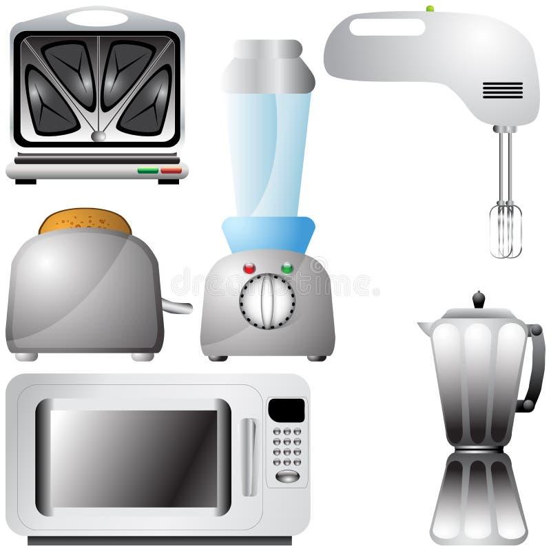 set för detaljerat kök för anordningar realistisk vektor illustrationer