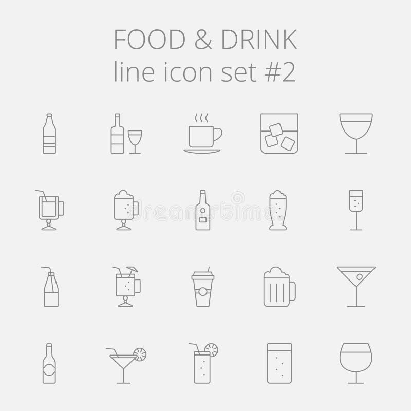 set för drinkmatsymbol vektor illustrationer