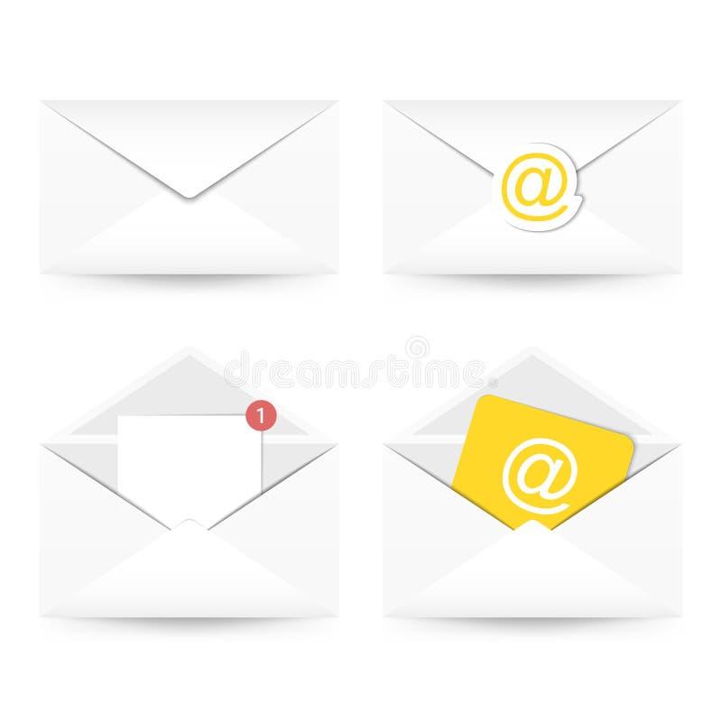 set för e-symbolspost Kuvert med det pappers- arket, vanlig post, med en stämpel royaltyfri illustrationer