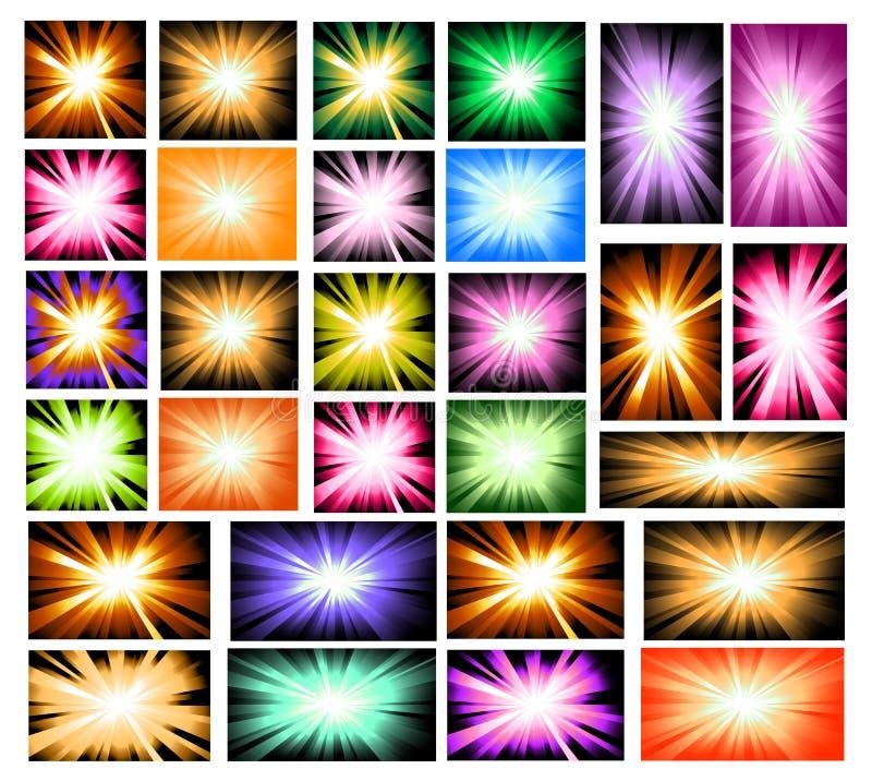 set för explosionlampastråle stock illustrationer