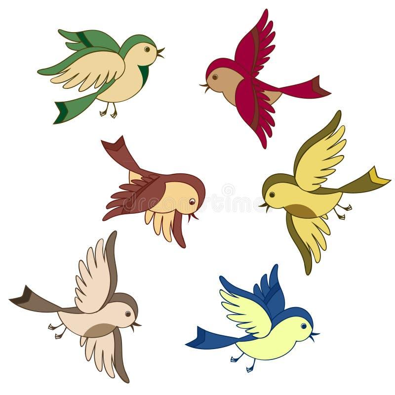set för fågeltecknad filmflyg royaltyfri illustrationer