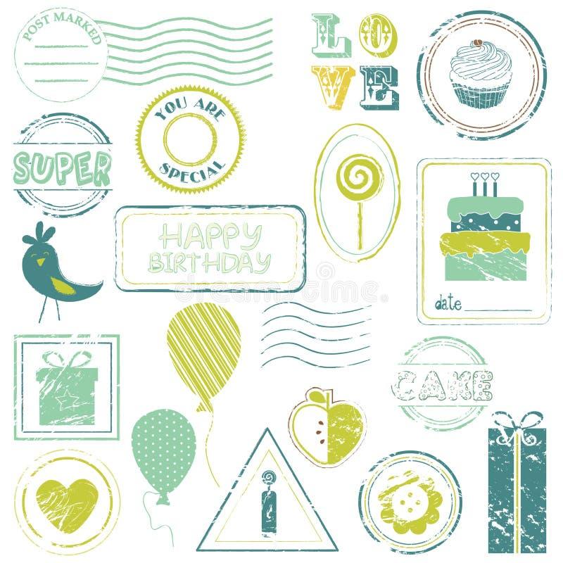 Set för födelsedagvektorstämpel stock illustrationer
