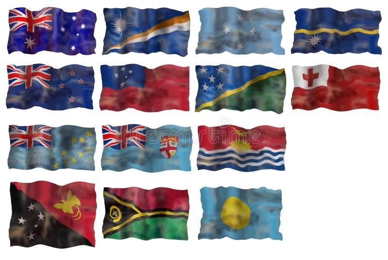 set för flagga för Australien handfatländer Stillahavs- stock illustrationer