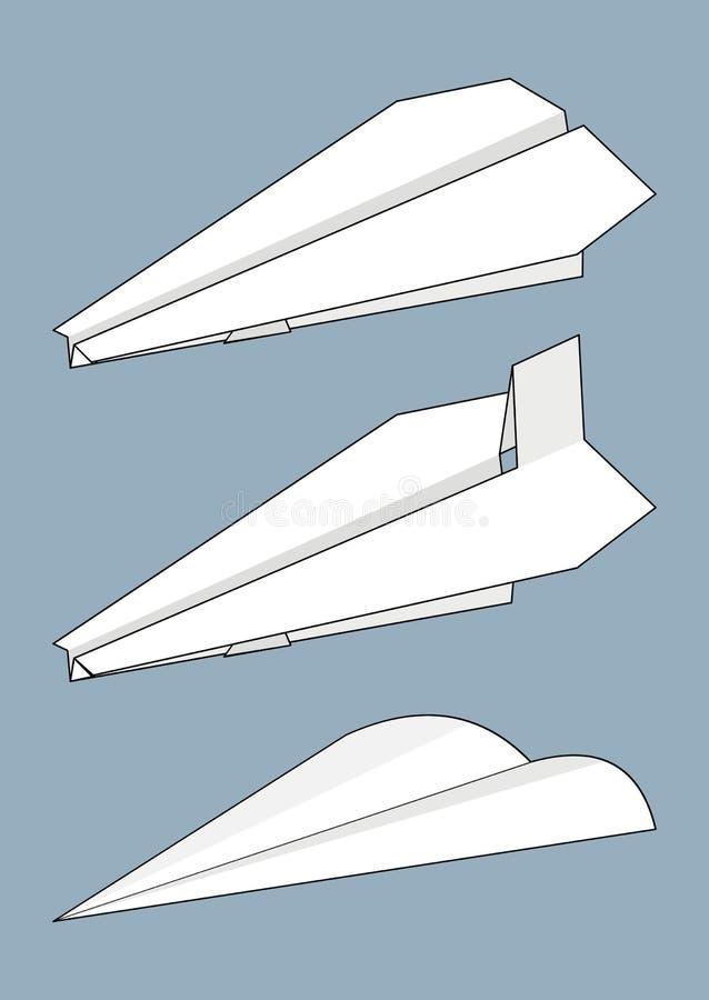 set för flygplanorigamipapper stock illustrationer