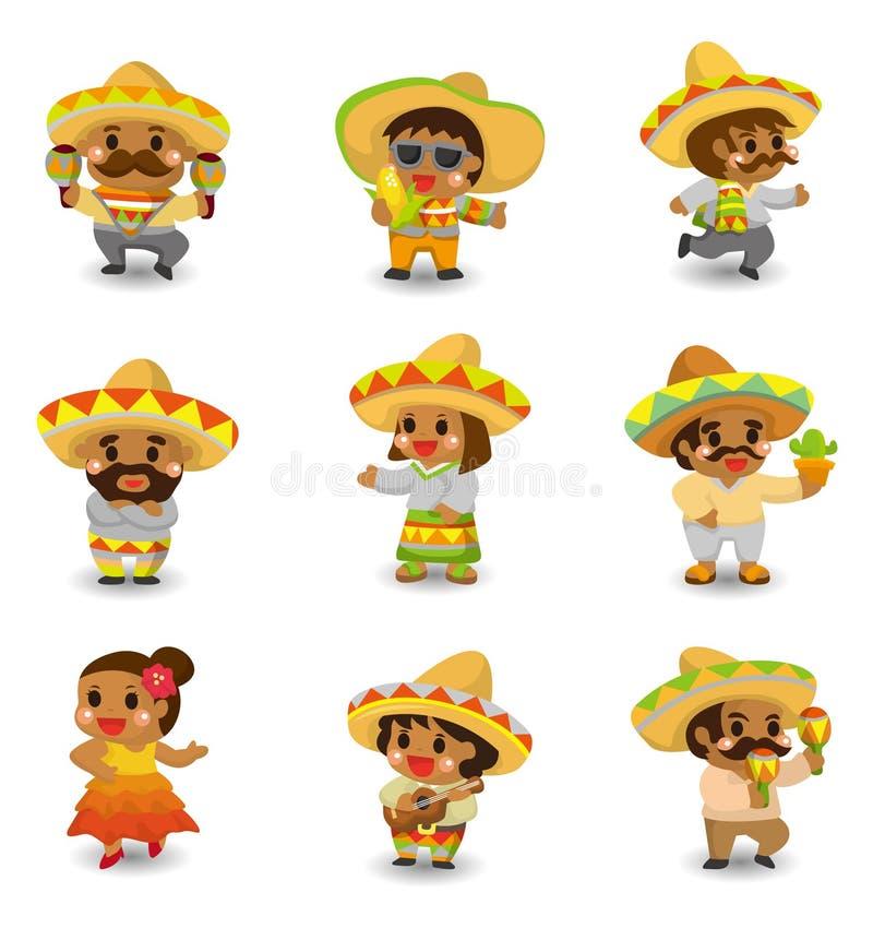 set för folk för tecknad filmsymbol mexikansk royaltyfri illustrationer