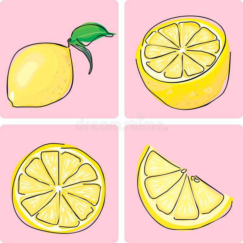 set för fruiitsymbolscitron stock illustrationer