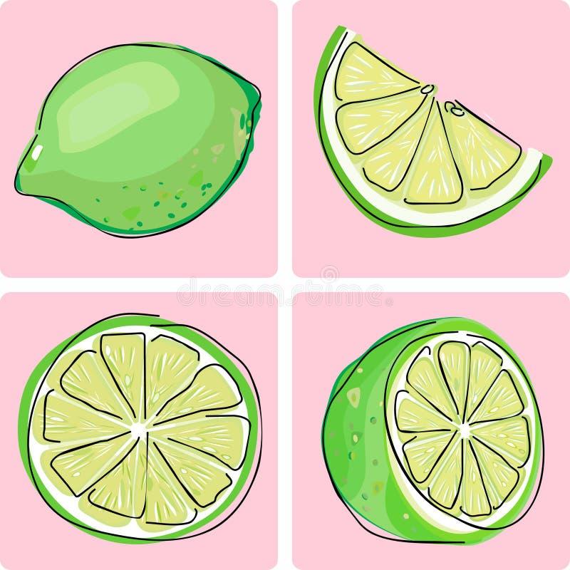 set för fruktsymbolslimefrukt vektor illustrationer