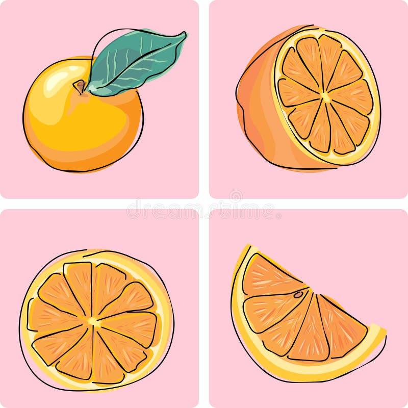 set för fruktsymbolsorange royaltyfri illustrationer