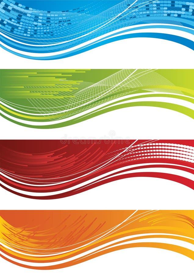 set för fyra raster för baner färgglad royaltyfri illustrationer