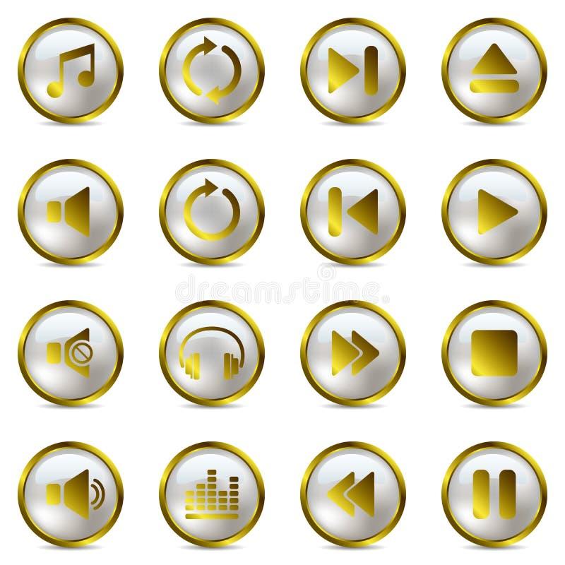 set för guldsymbolsmusik vektor illustrationer