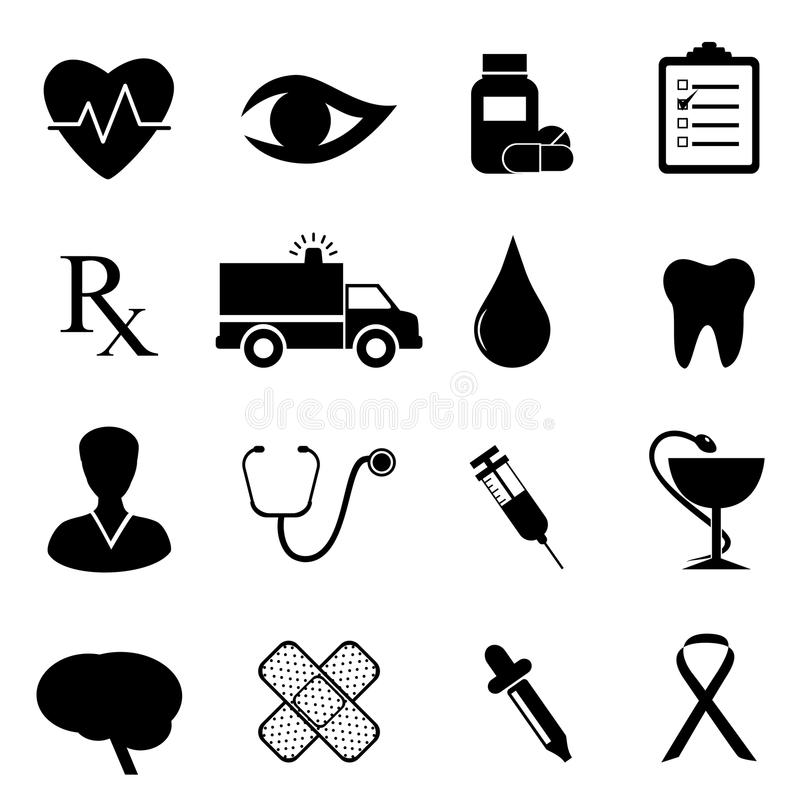 set för hälsosymbolsläkarundersökning vektor illustrationer