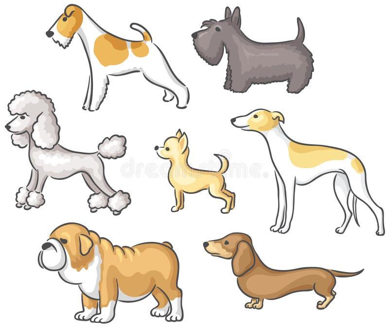 set för illustration för hundar för bakgrundstecknad filmdesign stock illustrationer