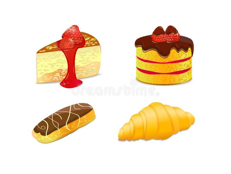 set för illustration för symbol för cakegiffeleclair royaltyfri illustrationer