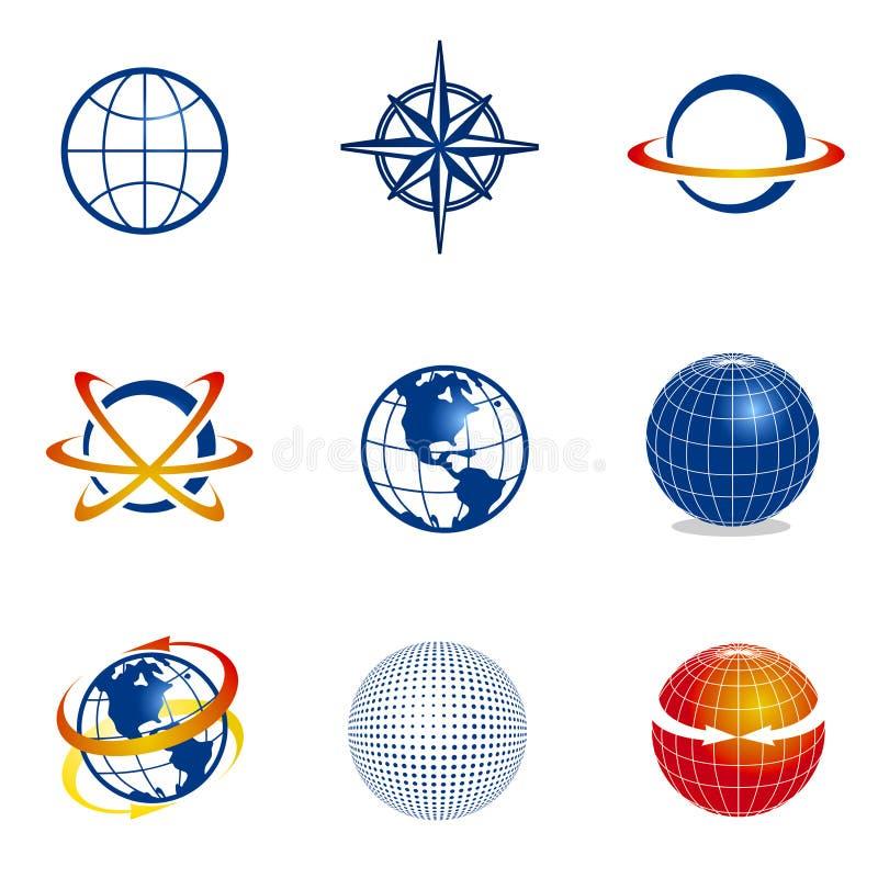 set för jordklotsymbolsnavigering stock illustrationer