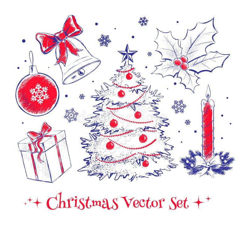 set för juldesignelement royaltyfri illustrationer