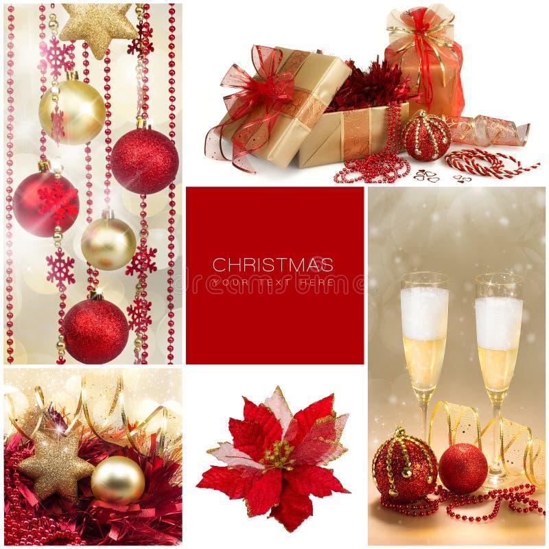 set för juldesignelement Vinterferiegåvor Guld- och röd collage royaltyfria bilder