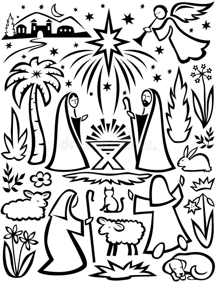 set för juleps-nativity stock illustrationer