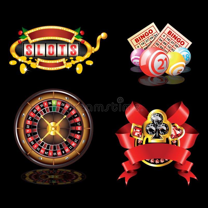 set för kasinoobjekt s royaltyfri illustrationer