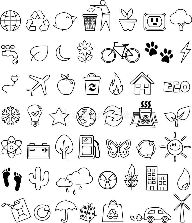 set för klotterecosymbol royaltyfri illustrationer