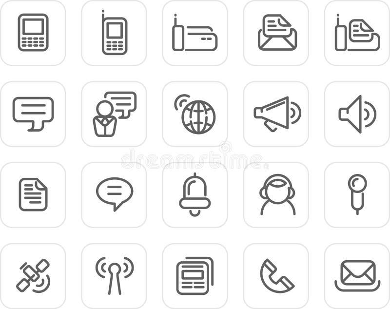 set för kommunikationssymbolsplain vektor illustrationer