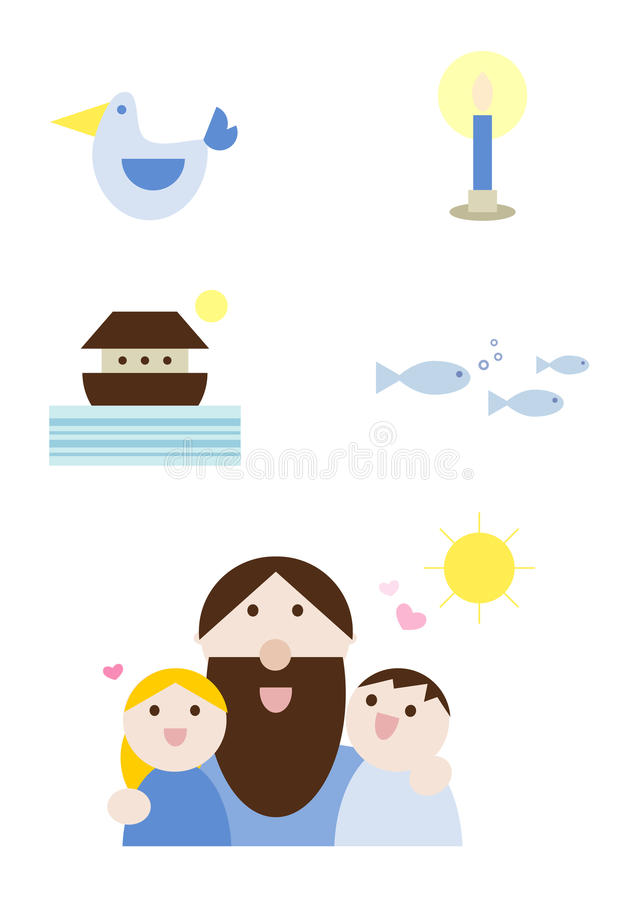 set för kristendomenillustrationreligion stock illustrationer