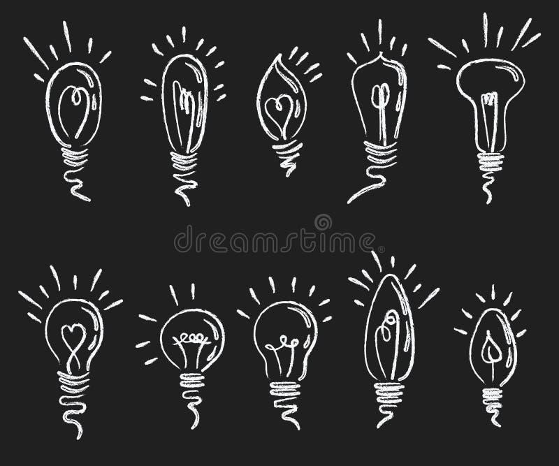 set för kulalampa Samling av stiliserad energi - sparande ljusa kulor Tända den elektriska anordningen Dra på a vektor illustrationer